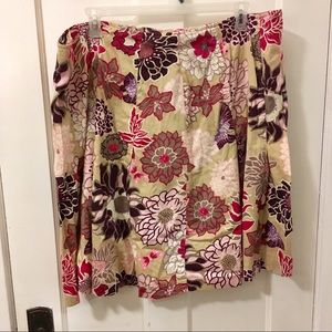 2/$15 Floral pink and purple beige skirt